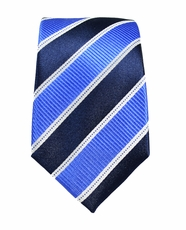 Blue Slim Silk Necktie by Paul Malone