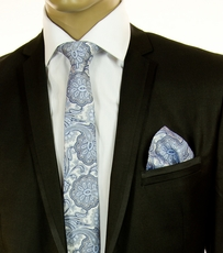 Blue SLIM Silk Tie and Pocket Square by Paul Malone (Slim566H)