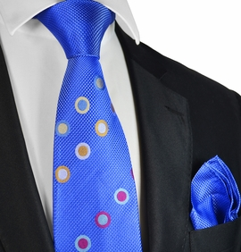 Blue Steven Land Contrast Knot Silk Tie and Pocket Square