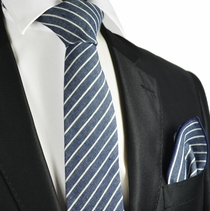 Blue Striped Linen Tie and Pocket Square by Paul Malone