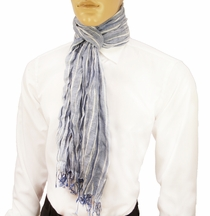 Blue Striped Men's Cotton Crinkle Scarf by Paul Malone