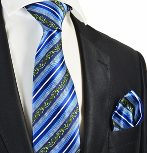 Blue Striped Men's Tie and Pocket Square Set