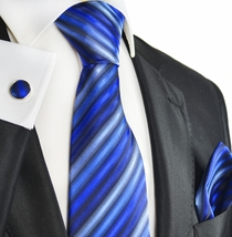 Blue Striped Silk Tie and Accessories by Paul Malone