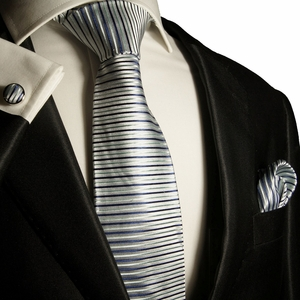 Blue Striped Silk Tie Set by Paul Malone (1002CH)