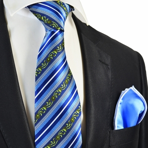 Blue Striped Tie and Light Blue Rolled Pocket Square Set