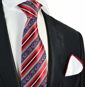 Red Striped Tie with Red Bordered Pocket Square Set