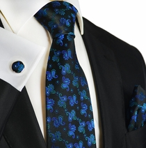 Blue Turquoise on Black Paisley Silk Tie Set by Paul Malone