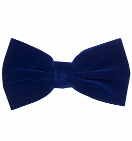 Blue Velvet Bow Tie and Pocket Square Set