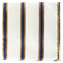 Blue, White and Gold Striped Pocket Square . 100% Silk (H782)