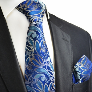 Bluesteel and Silver Silk Tie Set by Paul Malone