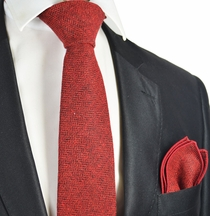 Bossa Nova Red Wool Tie Set by Paul Malone