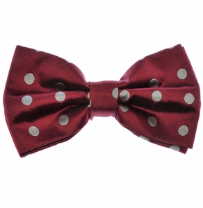 Bow Tie and Pocket Square Set . Burgundy and Grey Polka Dots (BT487-J)