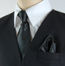 Boys Clip-on Tie and Pocket Square (KTC600-Black)