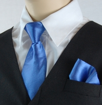 Boys Clip-on Tie and Pocket Square (KTC600-Blue)