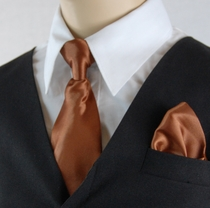 Boys Clip-on Tie and Pocket Square (KTC600-Brown)