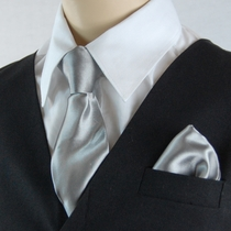 Boys Clip-on Tie and Pocket Square (KTC600-Gray)