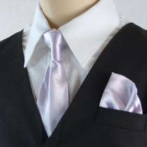 Boys Clip-on Tie and Pocket Square (KTC600-Lavender)