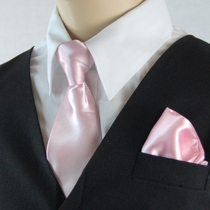 Boys Clip-on Tie and Pocket Square (KTC600-Pink)