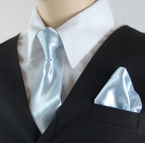 Boys Clip-on Tie and Pocket Square (KTC600-SkyBlue)