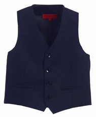 Boys Navy Blue 4-Button Suit Vest