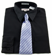 Boys Shirt and Tie Combination . Black (BST107)
