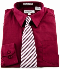 Boys Shirt and Tie Combination . Burgundy (BST104)