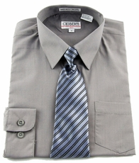 Boys shirt and Tie Combination . Grey (BST106)