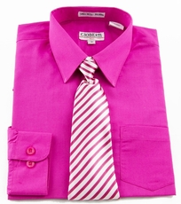 Boys Shirt and Tie Combination . Hot Pink (BST105)