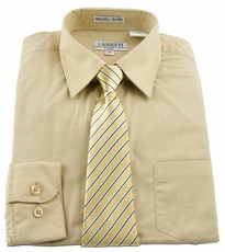 Boys Shirt and Tie Combination . Khaki (BST119)