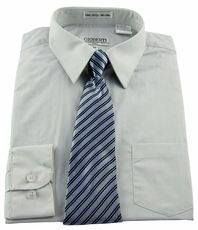 Boys Shirt and Tie Combination . Light Grey (BST116)