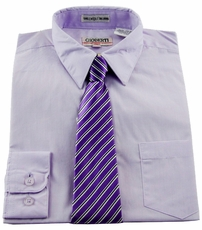 Boys Shirt and Tie Combination . Lilac (BST118)