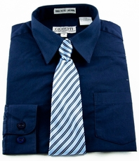Boys Shirt and Tie Combination . Navy Blue (BST120)