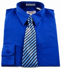 Boys shirt and Tie Combination . Royal Blue (BST112)