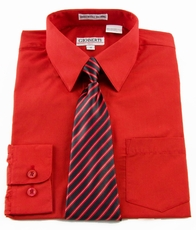 Boys Shirt and Tie Combination . True Red (BST101)
