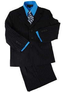Boys Suit Combo with Vest, Shirt and Tie . Black with Blue Pinstripes (KA214)