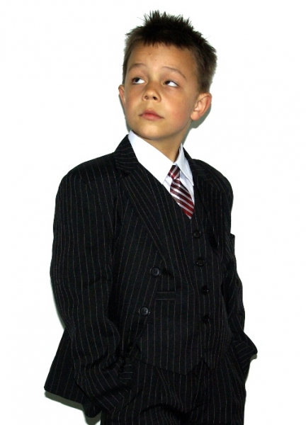 Boys Suits Black And White Pinstripes