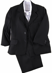 Boys Suit with Vest and Shirt . Black and White Pinstripes (KA50)