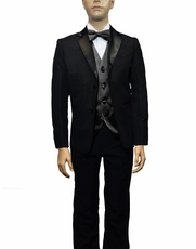 Boys Tuxedo and Vest Set Combination, Black