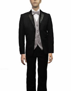 Boys Tuxedo and Vest Set Combination, Charcoal