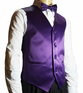 Boys Tuxedo Vest Set . Solid Purple (K10-BB)