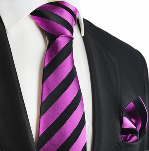 Boysenberry and Black Silk Tie Set by Paul Malone Red Line