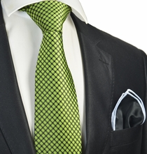 Bright Green Checked Tie with Contrast Rolled Pocket Square Set
