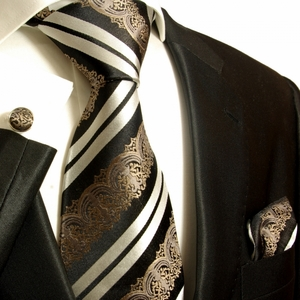 Bronze, Black and White Paul Malone Silk Tie Set (516CH)