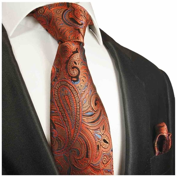 2014d4aa0c88e Bronze Paisley Silk Tie and Pocket Square by Paul Malone