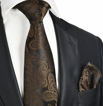 Brown and Black Necktie and Pocket Square Set (Q600-Q)