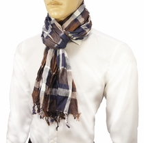 Brown and Blue Men's Cotton Crinkle Scarf by Paul Malone