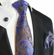 Brown and Blue Paisley Silk Tie and Accessories by Paul Malone
