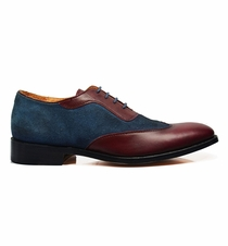 Brown and Burgundy Leather Oxfords by Paul Malone