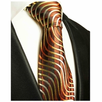 Brown and Gold Paul Malone Designer Silk Tie (751)