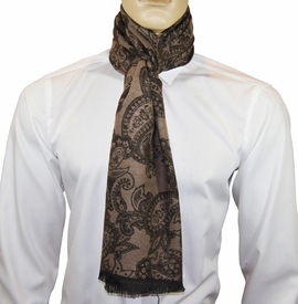 Brown and Tan Paisley Men's Scarf by Paul Malone